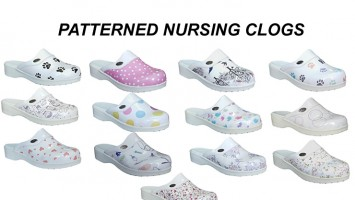 Patterned Nursing Clogs